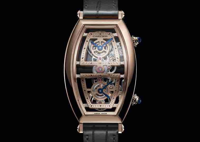 Best Cartier Privé Tonneau XL Skeleton Dual Time And Cartier Privé Tonneau Replica Watches For 2019 New Year
