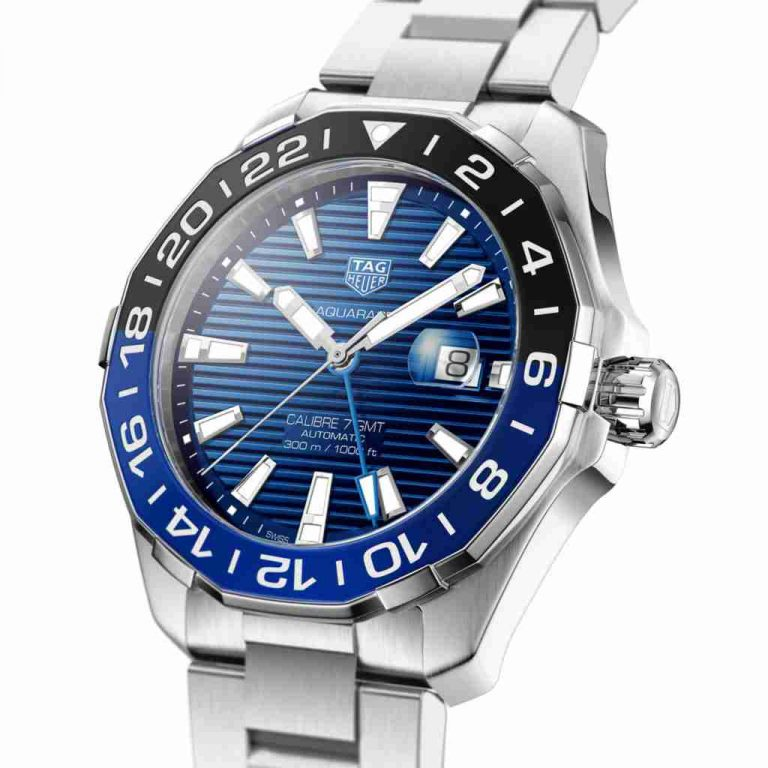 New Released of TAG Heuer Aquaracer Automatic Blue Dial Calibre 7 GMT 43mm Replica