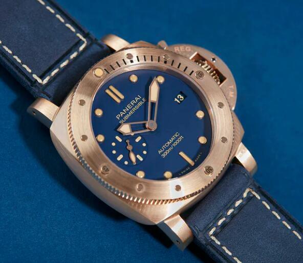 Replica Panerai Submersible Blu Abisso Blue Matte Dial Bronzo 42mm Watch Review 3